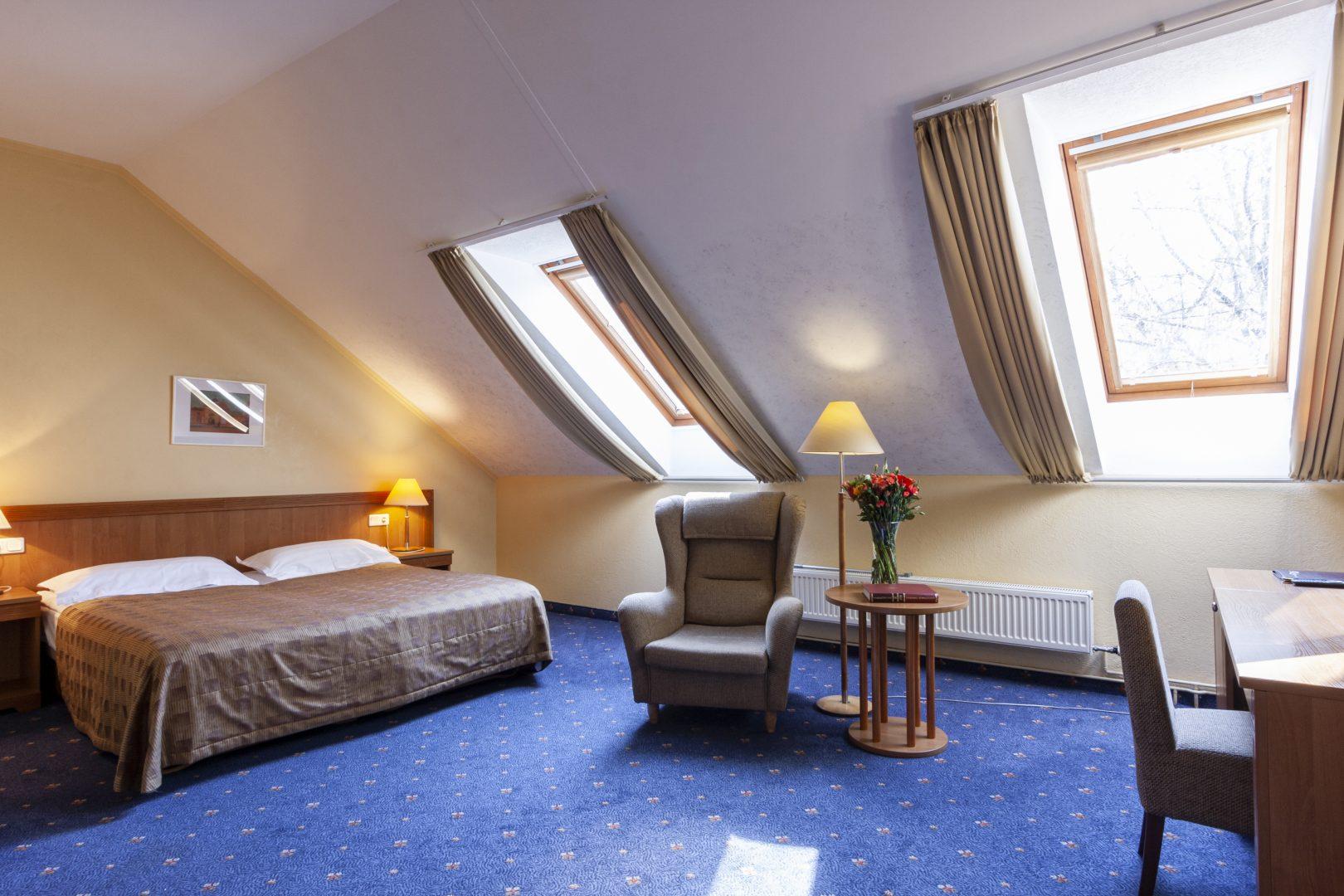 Standartinis kambarys su dvigule lova ir vonia